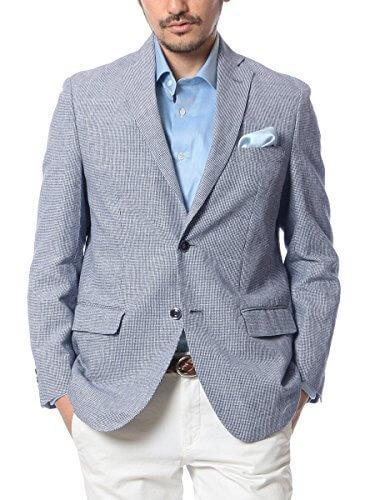 (ドムアオム) D'HOMME A HOMME 麻 100% テーラードジャケット サマージャケット メンズ 春 夏 千鳥格子(ブルー) / M,出産,退院,服装