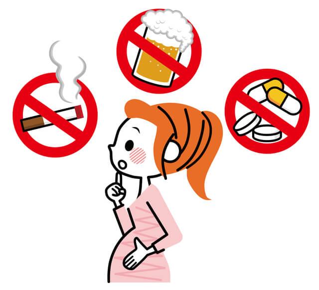 タバコ酒薬,妊娠初期,腹痛,出血