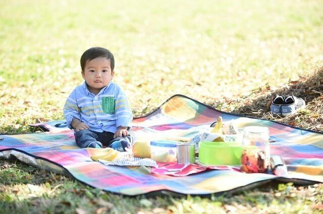 レジャーシートに座る赤ちゃん,赤ちゃん,アウトドア,