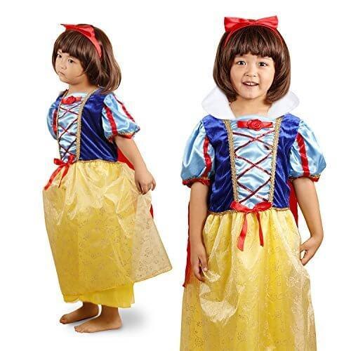 【かわいいティアラ&カチューシャ付き!】演出やパーティーに! 白雪姫 風 プリンセスドレス 子供用 コスプレ 衣装 全4サイズ a317 (130cm),ハロウィン,衣装,子供