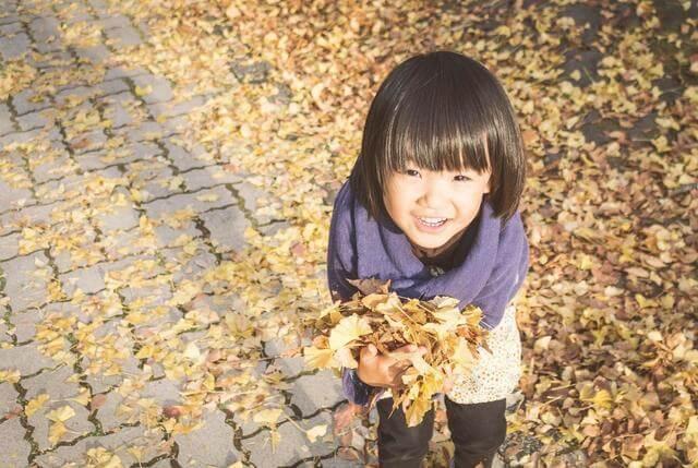 落ち葉で遊ぶ女の子,子供,トレーナー,