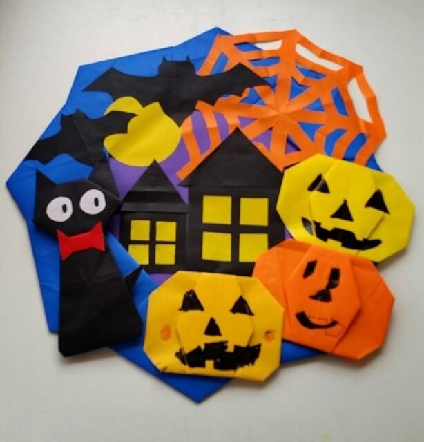 ハロウィン リース 折り紙 折り方 手作り かぼちゃ 黒猫 コウモリ クモの巣 月,ハロウィン,リース,