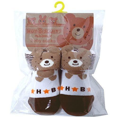 ミキハウス ホットビスケッツ(MIKIHOUSE HOT BISCUITS) キャラクター・ベビーソックス 9-10cm 茶,出産祝い,靴下,