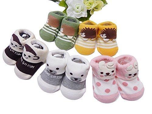 ShanTrip アニマル ベビー ソックス 5足 セット 新生児用 出産祝い お誕生日 男の子 女の子 男女兼用 赤ちゃんの靴下,出産祝い,靴下,