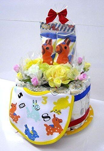 ご出産お祝い<おむつケーキ> リーズナブルなお値段のかわいいおむつケーキ ロディK (男女共用レッドリボン),出産祝い,靴下,