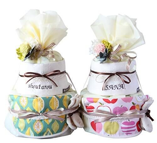 出産祝い おむつケーキ 北欧 オーガニック 今治 タオル 名入れ 無料 おしゃれ (S, アップル総柄 ホック付き スタイ) ソックス,出産祝い,靴下,
