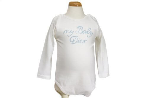 baby Dior(ベビーディオール) ロンパス 長袖 オフホワイト×ブルーロゴ 3M 【並行輸入品】,出産祝い,ロンパース,