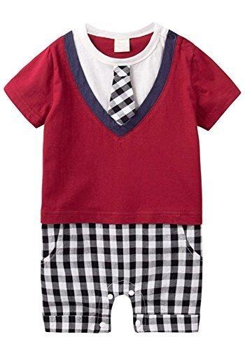 (エーケー) AK Style ベビー フォーマル 半袖 スーツ ネクタイ Tシャツ チェック ロンパース 春 夏 男の子 子供服 150601-1(レッド-80),出産祝い,ロンパース,