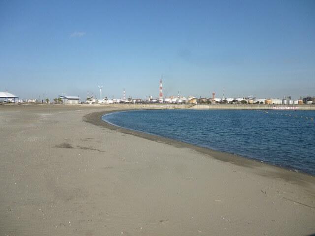 東扇島東公園の人工海浜(かわさきの浜),ピクニック,公園,神奈川