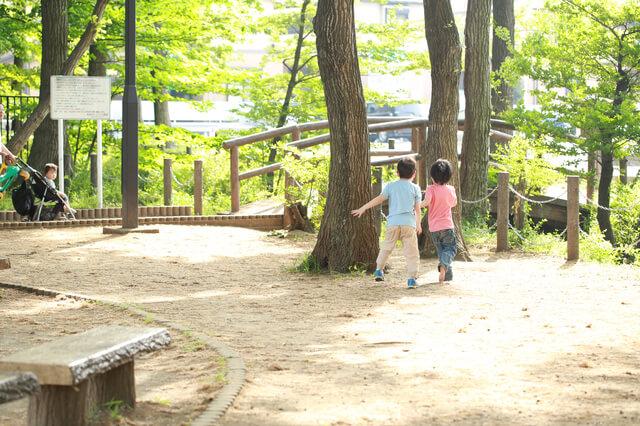 公園で遊ぶ子どもたち,ごっこ,遊び,