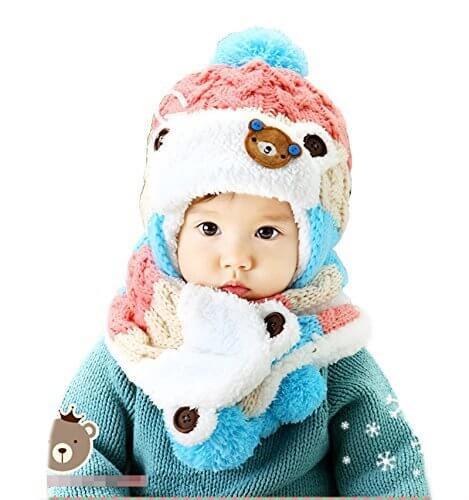 【Yusongirl】赤ちゃん 幼児 子供 服 ギフト 帽子 キャップ かわいい ボンボン 耳あて 耳カバー 付き ボア ニット帽 マフラー セット 男の子 女の子 兼用 防寒 防風 アウター ベビー キッズ (ピンク),子ども,マフラー,