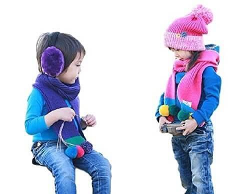 (エーキャット) A-catキッズ ニット帽 / マフラー セット ボンボン 付き カラフル もこもこ かわいい 子供服 防寒 おしゃれ お揃い オソロ 兄弟 男の子 女の子/ 赤 ピンク 紫 青 (紫),子ども,マフラー,