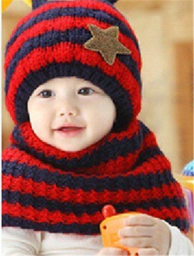Candykids お出かけ お散歩 赤ずきん 風 帽子 ニット マフラー セット 男の子 女の子 兼用 防寒 防風 アウター ベビー キッズ 赤ちゃん 幼児 子供 服 ギフト 帽子 キャップ (レッド),子ども,マフラー,