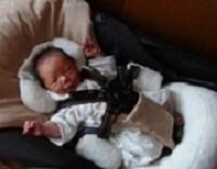 ダッコシートプラスで眠る赤ちゃん,コンビ,ネムリラ,