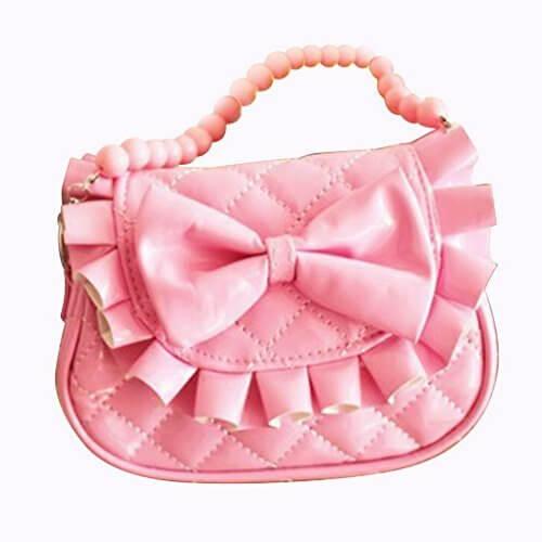 Happy Cherry 女の子 ポシェット 斜め掛けバッグ ハンドバッグ ハンドかばん お洒落 蝶結び付き PU材質 ピンク,キッズ,バッグ,