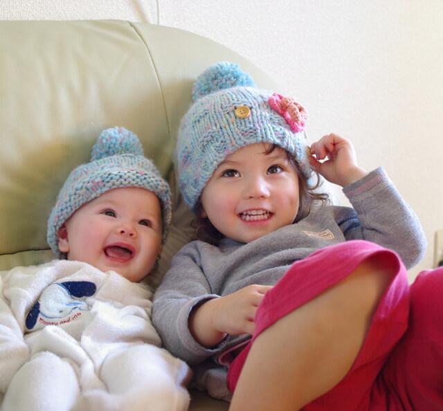 ニット 姉妹,子供,ニット,帽