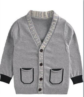 ルル屋 キッズ 子供 シンプルVネックリブカーディガン ニット カーディガン セーター(グレー) (80cm),子供,ニット,帽