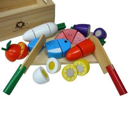 """""""ザクッ""""と切れる感触が本物みたい♪サクッと切れるままごと 木箱いっぱいセット,ごっこ遊び,おもちゃ,"""