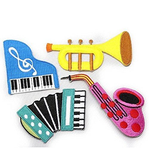 ノーブランド品 MUSIC 楽器色々 ワッペン4点セット SET PART-2,手作り,お守り,