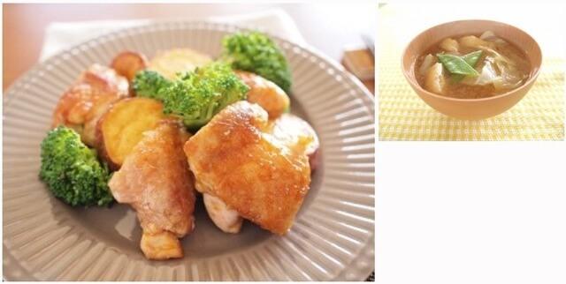 鶏肉とブロッコリーのこってり炒め&キャベツとあげのお味噌汁,夕飯,献立,