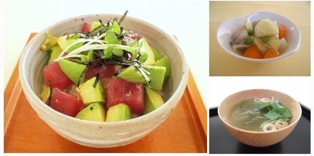 マグロとアボガド寿司&塩肉じゃが&とろろ昆布のお吸い物,夕飯,献立,