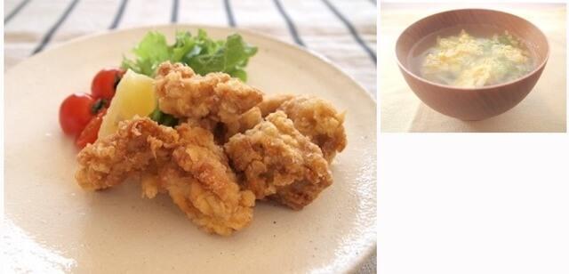 鶏のから揚げ&キャベツと卵のスープ,夕飯,献立,
