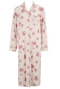 水彩風花柄 ネグリジェ|アモスタイル,前開きパジャマ,