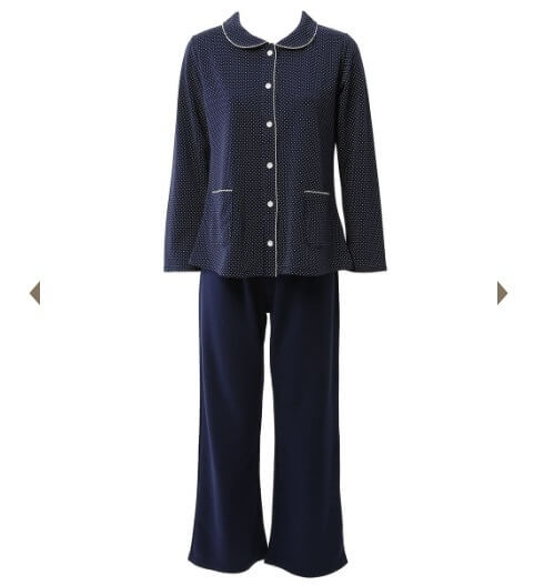 ダンボール仁丹ドット柄衿付き前開き長袖パジャマ|チュチュアンナ,前開きパジャマ,