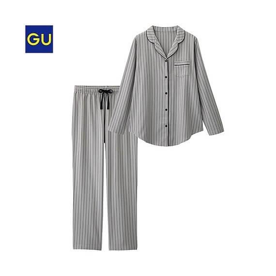 パジャマ(ストライプ)|GU,前開きパジャマ,