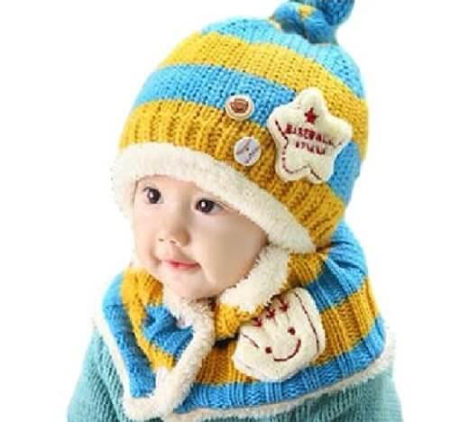 ニット帽 マフラー セット ベビー 赤ちゃん キッズ 子供 用 かわいい 防寒 ニット 帽子 (水色/イエロー),ベビー,ニット帽,