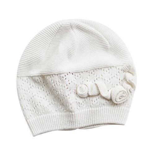 EOZY 可愛い ベビーハット ニット帽子 子供用 純色 透かし彫り 花飾り 新生児 赤ちゃんキャップ キッズ帽子 秋冬 カジュアル 女の子 子ども ホワイト S,ベビー,ニット帽,