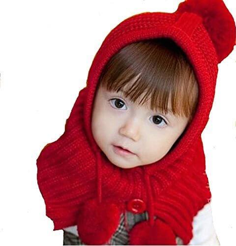 京都おかげさまで 選べるカラー 赤ずきんちゃん風 ニット帽 ポンチョ ベビー & キッズ 用 (レッド),ベビー,ニット帽,