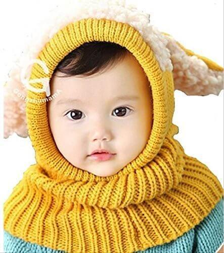 【On Dolce】選べる5色 うさぎちゃん風 ニット帽 ニット帽子 ベビー キッズ 赤ちゃん 子 子供 用 かわいい 防寒 BN005 (イエロー),ベビー,ニット帽,