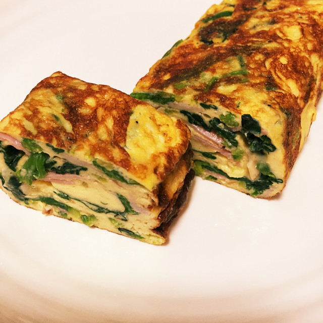 【お弁当】ほうれん草とベーコンの玉子焼き,お弁当,卵,