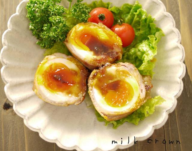 卵の豚バラ巻き☆お弁当にも,お弁当,卵,