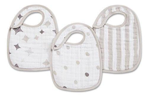 aden + anais (エイデンアンドアネイ) 【日本正規品】 モスリンコットン スナップビブ 3枚セット nibble shine on - 3 Pack-7113,赤ちゃん,ガーゼ,