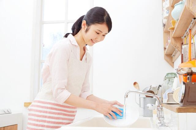 キッチンに立つ女性 皿洗い,出産祝い,オーガニック,