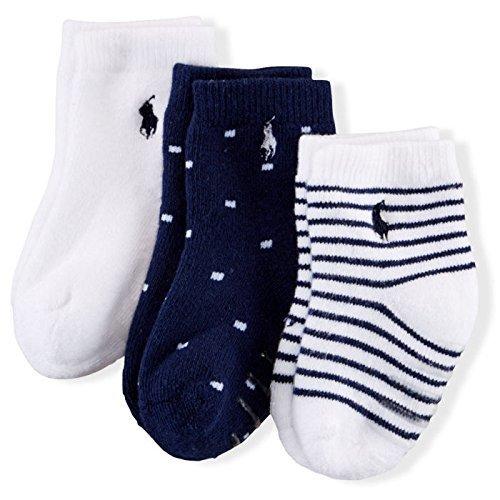 Ralph Lauren(ラルフローレン) ボーダーワンポイントベビーソックス3足セット(White/ボーダー/ドット)/靴下 6-12m(6-12ヶ月) [並行輸入品],出産祝い,ラルフ,