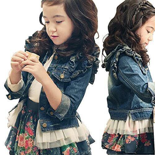 (エアナスコレクション) Eanas Collection おしゃれな 女の子に ぴったり キッズ用 デニム ジャケット 子供 アウター コート 防寒着 春 夏 ショルダーフリルがとってもキュート (110cm),キッズ,ジャケット,