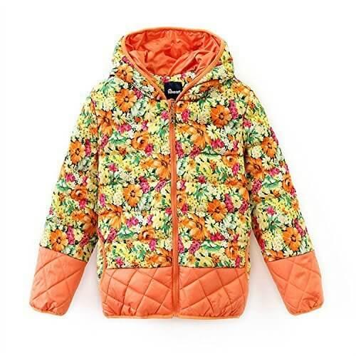 (ハイハート)Hiheart キッズ ダウンコート フラワージャケット キルティングアウターコート フード付き オレンジ 110cm,キッズ,ジャケット,