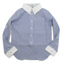 【TAPPET/子供服/タペット/子ども服】 ストライプクレリックシャツ ブルー(BL),子供服,サーカス,
