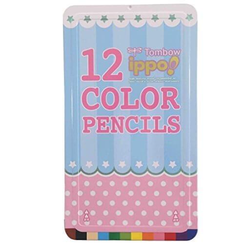 トンボ鉛筆 色鉛筆 ippo! スライド缶 12色 CL-RRW0312C プリントW,色えんぴつ,