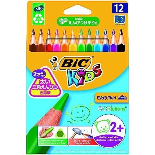 BIC KIDS 色鉛筆 12色 三角軸 鉛筆削り付 BKEVOTRI12E,色えんぴつ,