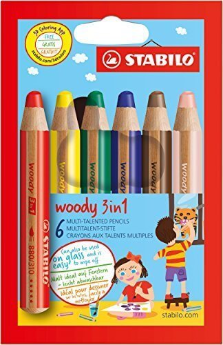 STABILO 水彩色鉛筆 ウッディー3in1 6色 8806,色えんぴつ,