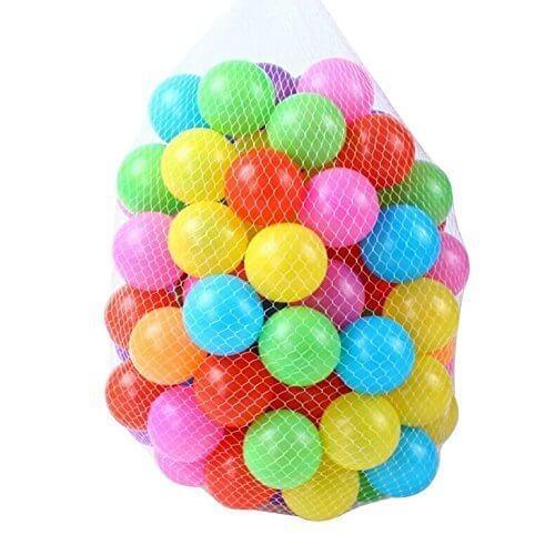 [OneStepAdvance] カラーボール おもちゃボール 7色100個 直径5.5cm やわらかポリエチレン製 収納ネットセット(プール/ボールハウス用),ボールプール,家庭用,