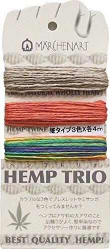メルヘンアート 麻ひも HEMP TRIO 細 Col.254 レインボー 3色 各4m,手作り,ブレスレット,