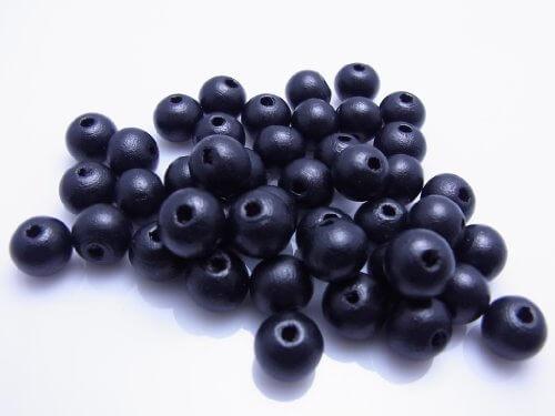 ウッドビーズ 丸型 ブラック 約9×10ミリ 約50個セット(WA-023-50),手作り,ブレスレット,