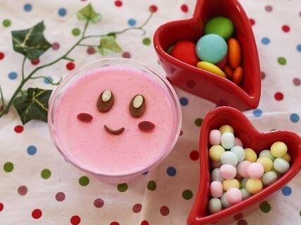ピンクシュガーで作るカービィプリン,バレンタイン,レシピ,簡単