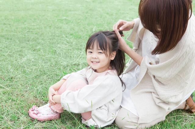 子ども髪の毛結う,リボンゴム,作り方,