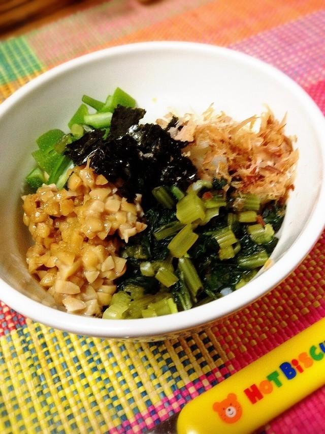 離乳食完了期♡納豆とオクラのネバネバ丼,離乳食,山芋,